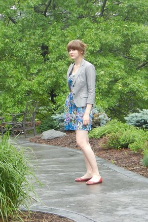blue Target dress - heather gray banana republic blazer - red Target flats