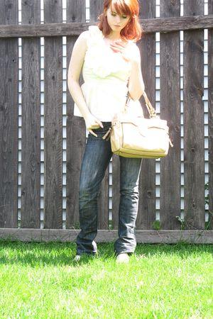 beige Anthropologie blouse - blue 1921 jeans - beige coach purse - beige Nine We