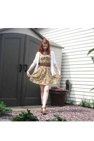 brown from Cuba belt - beige Etsy seller fashionloft dress - brown Zara shoes -