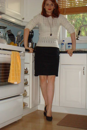 white Chic Swap sweater - black Club Monaco skirt - black Zara shoes - Etsy neck