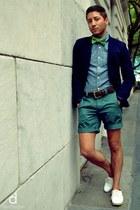 white Aldo shoes - navy Forever 21 blazer - sky blue J Crew shirt