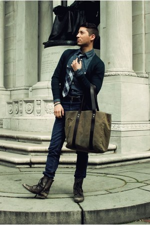 camel Ernest Alexander bag - dark brown Aldo boots - navy Levis jeans