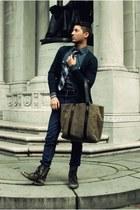 camel Ernest Alexander bag - dark brown Aldo boots - navy Levis jeans