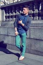 neutral Vans shoes - navy Topman shirt - aquamarine Zara pants