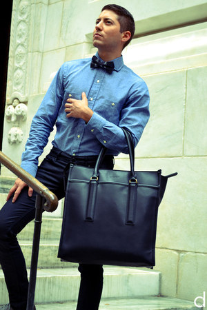 black coach bag - heather gray Ratio Clothing shirt - black The Tie Bar tie