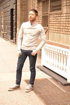 blue Zara tie - brown NDC Made By Hand shoes - navy acne jeans