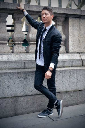black Doppleganger jacket - white Topman shirt - black H&M pants