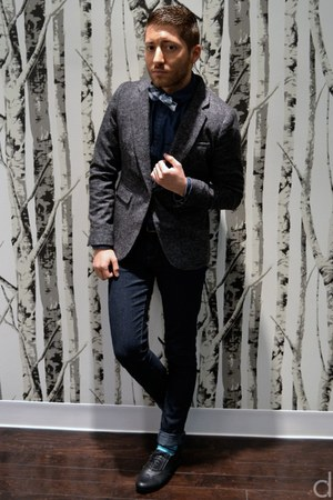 gray H&amp;M blazer - black Bucco shoes - blue H&amp;M shirt - teal Richer Poorer socks