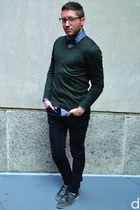 forest green Uniqlo sweater - charcoal gray Dolce Vita shoes - black H&M jeans