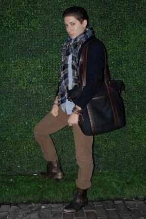 navy H&M sweater - dark brown Aldo boots - light blue All Saints shirt