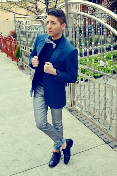 silver The Tie Bar tie - black bostonian shoes - blue H&M Fashion Star blazer
