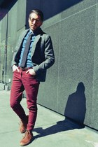 brown Fred Perry boots - charcoal gray H&M blazer - blue Topman shirt