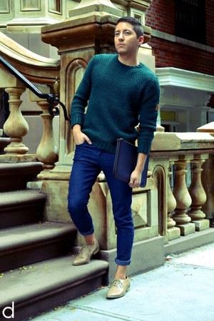 dark green Zara sweater - tan Forever 21 shoes - navy Forever 21 jeans