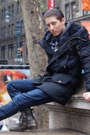 black Topman coat - brown Aldo boots - navy Levis jeans - navy H&M shirt