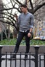 Black-candies-boots-heather-gray-h-m-sweater-olive-green-h-m-shirt