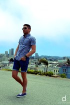 blue Vans shoes - blue J Crew shirt - navy H&M shorts