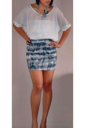 white top - silver skirt - silver accessories