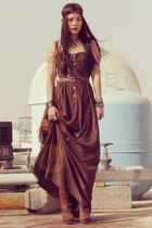 dark brown velvet vintage dress - brown Forever 21 boots