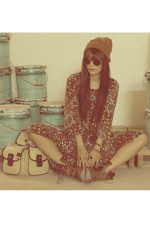 brown H&M boots - crimson vintage dress - brown new look hat