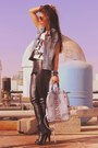 Black-bershka-boots-periwinkle-denim-vintage-bag-black-leather-topshop-pants