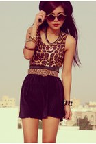 black romwe hat - gold romwe ring - black New Yorker skirt - brown H&M wedges