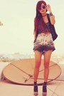 Gray-river-island-heels-charcoal-gray-vintage-shorts-black-forever-21-top