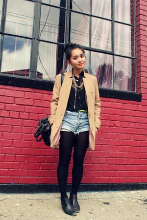 H&M coat - vintage boots - Levis shorts