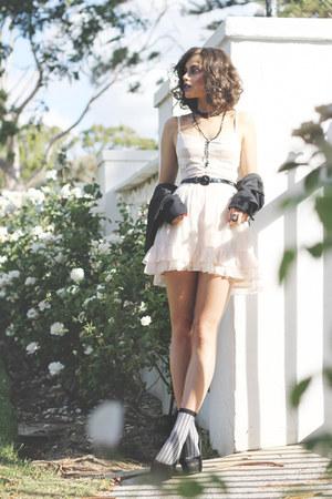 black Camilla and Marc jacket - light pink Bettina Liano dress