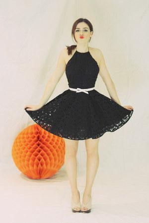 black lace low-back Zimmermann dress - beige wooden platform Casadei heels
