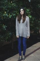 blue skinny jeans Cheap Monday jeans - navy lace-up Senso heels