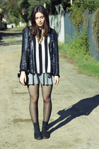 navy sequined vintage jacket - black Paris boots - heather gray Topshop skirt