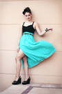 Turquoise-blue-vintage-skirt-black-sportsgirl-top-black-suede-beefly-wedges