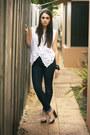 Navy-nudie-jeans-white-vintage-vest-nude-casadei-heels