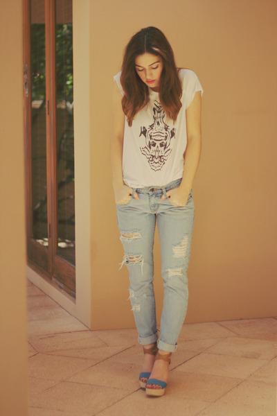 white Willow t-shirt - light blue nobody jeans