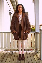 brown leather vintage coat - light pink vintage shirt