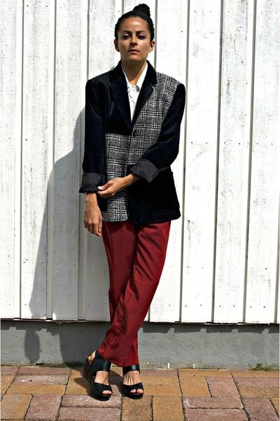 heather gray lecomte coat - black lecomte coat