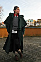 long cape coat vintage cape - vintage Beyond Retro boots