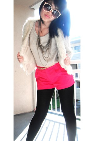 beige knit H&M sweater - hot pink H&M shorts - eggshell fur H&M vest