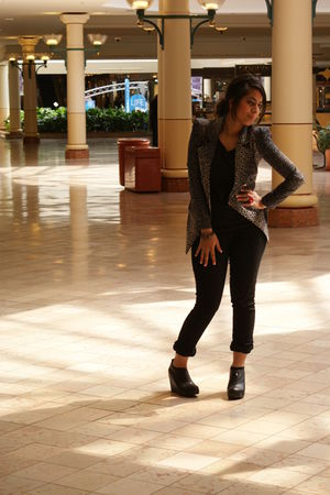 gray Pop culture blazer - black Pop culture pants - black Jeffrey Campbell shoes