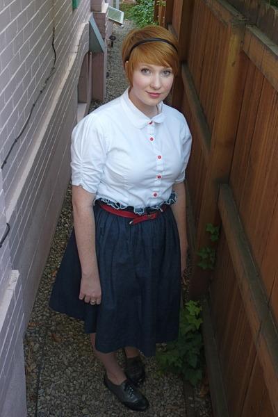 white shade shirt - red vintage belt - blue handmade by me skirt - gray f21 shoe