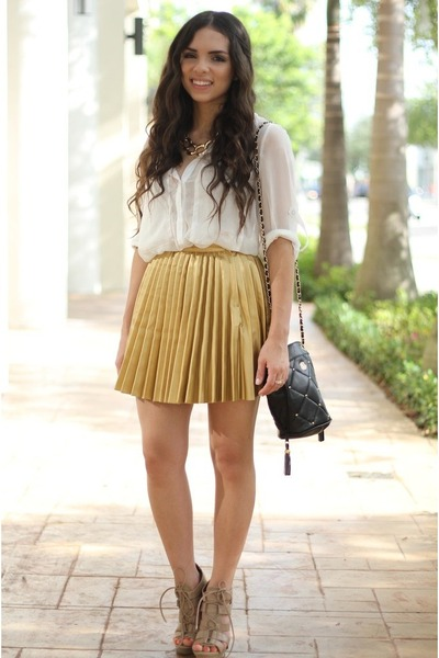 gold beginning boutique skirt - tan Shoedazzle shoes - white OASAP shirt