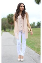 white Shoedazzle shoes - white JC Penney jeans - light pink ShopGoldie shirt