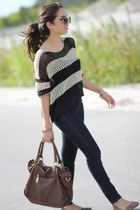brown Mimi Boutique bag - navy Forever 21 jeans - beige stripes romwe sweater