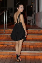 black backless romwe dress - hot pink Zara shoes