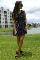 black GoJane shoes - purple Forever21 dress - black vintage purse - gray Emitati