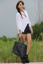 black litas Jeffrey Campbell boots - white dolman Express shirt