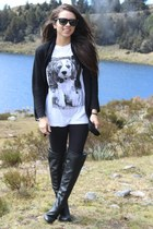 black Forever 21 boots - black Aldo leggings - white brashy shirt