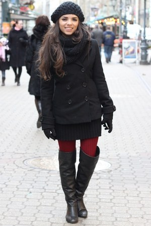 black Studio F dress - black Forever 21 coat - black H&M hat