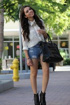 button up Forever 21 blouse - lita Jeffrey Campbell shoes