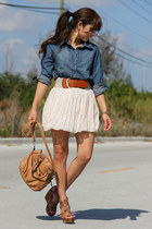 blue Forever 21 shirt - tawny Mimi Boutique bag - cream Forever 21 skirt - gold